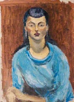 Portrait of an Unknown Asian woman in a Blue Dress
