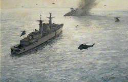 HMS 'Broadsword' Rescuing Survivors from HMS 'Coventry', 25 May 1982