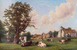 Old Milverton Church with Cattle