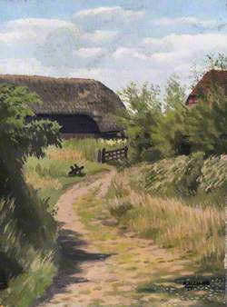 Landscape with a Farm Building and a Field Gate