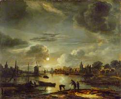 Canal Scene by Moonlight