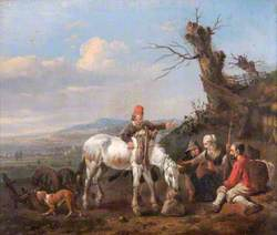 Landscape with Travellers Resting and a Couple on Horseback