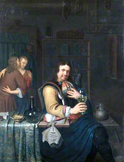 Interior with a Cavalier Drinking and a Couple Embracing