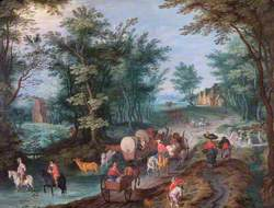 Landscape with Figures Crossing a Brook