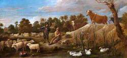 Landscape with Two Shepherds, Cattle and Ducks