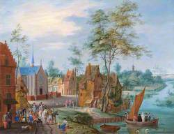 A Flemish Village with a River View