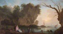 Sunset: View over a Bay with Figures