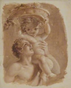 Man Carrying Child on Left Shoulder