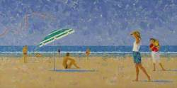 Beach Scene with Blue Umbrella