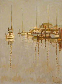 Small Boats Lying at Anchor in Still Water