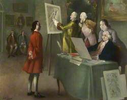 Benjamin Franklin (Seated), Presiding at a Meeting of the Society's Committee of Polite Arts, 3rd February 1759