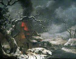 Wintry Scene with a Burning Cottage in the Foreground