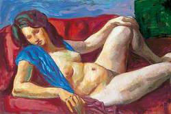 Study of a Reclining Female Nude with a Blue Wrap