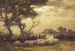A Flock of Sheep Passing through a Gateway