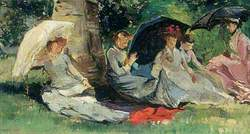 Girls in the Sunlight under Trees