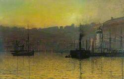 Nightfall in Scarborough Harbour, North Yorkshire