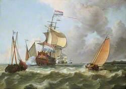 The Warship 'Hollandia' in Full Sail