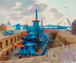 Destroyer in Dry Dock