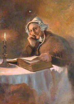 Portrait of an Old Woman Reading the Bible by Candlelight