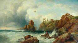 Rocky Coastal Scene with Shipping