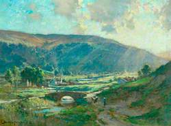 Sunlit Valley with Hamlet, Bridge and Cattle