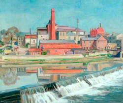 River with Weir and an Industrial Scene*