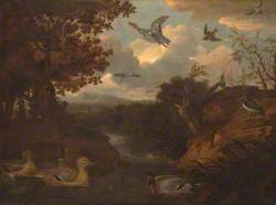 Ducks and Other Birds about a Stream in an Italianate Landscape
