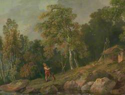 Wooded Landscape with a Boy and His Dog