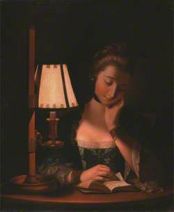 Woman Reading by a Paper-Bell Shade