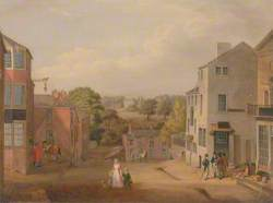 Street Scene in Chorley, Lancashire, with a View of Chorley Hall