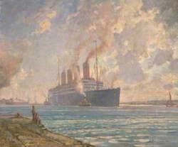 The Aquitania Coming up Southampton Water, 1930