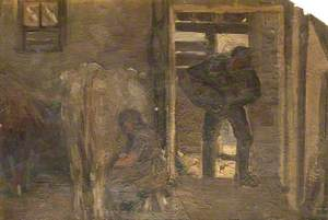 Barn Interior with a Woman Milking a Cow and a Man Entering a Barn