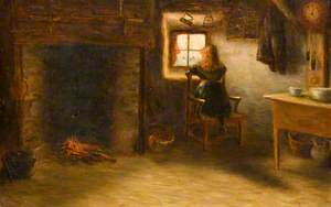 Girl in a Cottage Interior