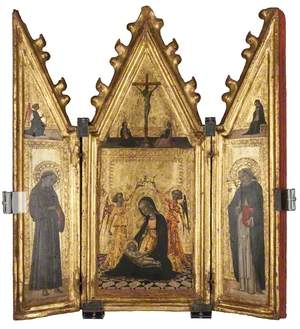 Madonna of Humility Crowned by Two Angels, with Saints Francis and Dominic – Annunciation and Crucifixion
