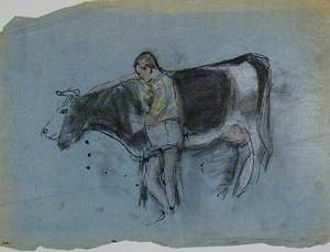 Fat Man with Black and White Cow, Lincolnshire