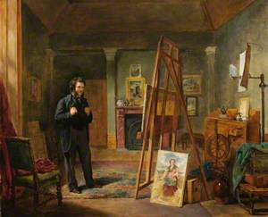 Thomas Faed at His Easel in His Studio
