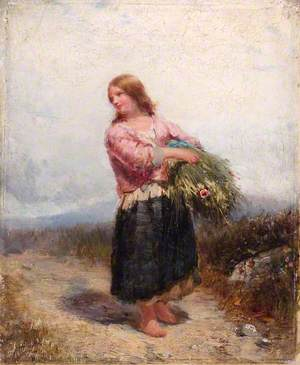 Girl Carrying Hay