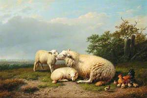 Sheep, Hen and Chicks in a Landscape