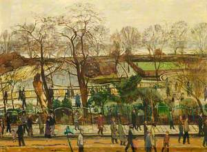 Crowds Walking through Bishop's Park, Fulham Football Ground