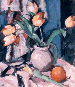 Tulips in a Brown Jar