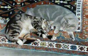 Two Cats Sleeping on a Holbein Rug