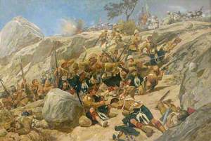 The Storming of the Heights at Dargai by the Gordon Highlanders