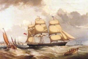 Ship 'British Merchant' Leaving Aberdeen