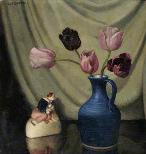 Still Life with Purple Tulips and a Figurine