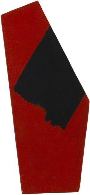 Small segment, red with black brush stroke