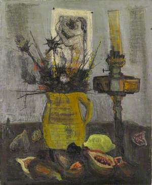 Untitled (Still Life: Lamp, Jug of Thistles)