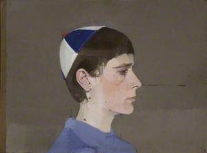 Girl's Head in Profile with Cap on