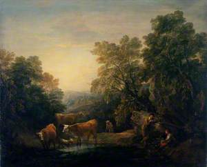 Rocky Wooded Landscape with Rustic Lovers