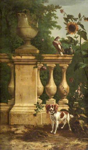 Pigeons and a Dog in a Garden