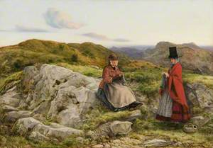 Welsh Landscape with Two Women Knitting